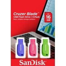 SANDISK CRUZER BLADE USB FLASH DRIVE 3-PACK - 16GB