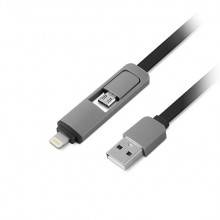 CABLE USB(A) A LIGHTNING/MICROUSB 1LIFE 1M NEGRO