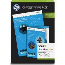 VALUE PACK TINTA + PAPEL PACK 3 COLORES (CMY) HP 953XL