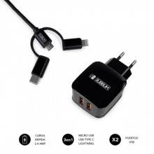SUBBLIM ABS DUAL WALL CHARGER 2.4A+CABLE 3IN1 BLACK